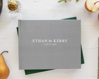 Wedding guest book, Custom gray landscape sign in book, Optional gold silver or rose gold foil, Personalized guestbook, Various cover colors