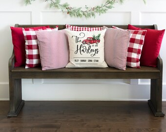 Christmas pillow, Personalized name pillow, Christmas wedding gift for newlyweds, Pillow cover, Christmas farmhouse decor, Red truck, pc0003
