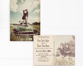 "Postcard wedding invitations, 5x7, Postcard wedding invite, Wedding invitations, the ""Rose"""