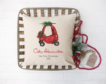 Christmas pillow, Personalized name pillow, Christmas wedding gift for newlyweds, Pillow cover, Christmas farmhouse decor, Red truck, pc0001
