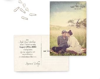 """Wedding save the date postcards, 4x6, Postcard save the dates, Vintage rustic wedding stationery - the """"Marissa 5"""""""