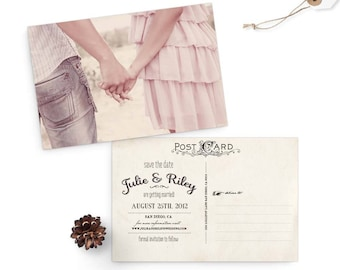 """Rustic save the date cards, 4x6, Save the date, the """"Julie"""""""