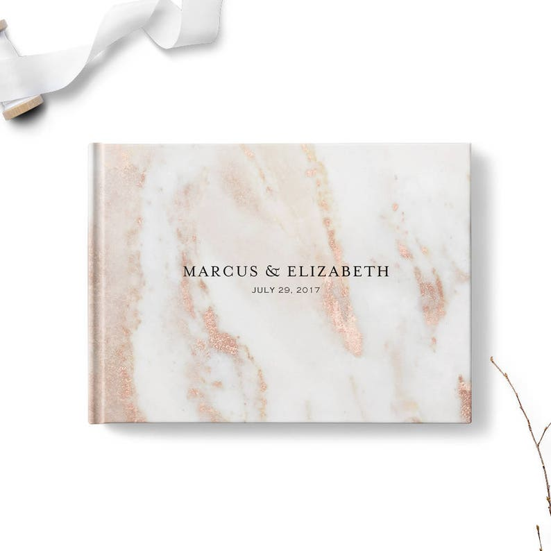 Custom wedding guestbook Personalized guest book Landscape image 0