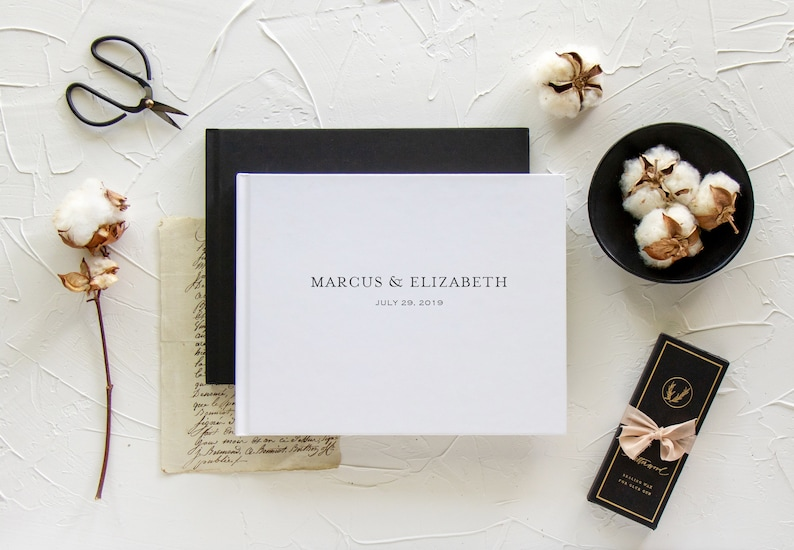 Optional gold foil Black wedding guestbook Various cover colors Blank or lined sign in book Custom landscape guest book