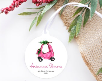 Baby's first christmas ornament, Pink truck ornament, My first Christmas Ornament, Baby girl or baby boy ornament, Kids 2021 ornament