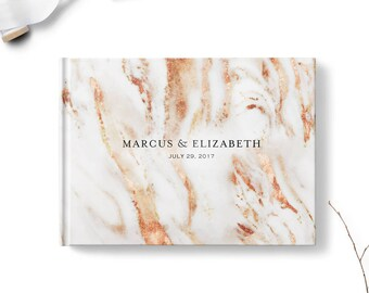 Marble guest book, Landscape, Wedding guest book, Copper Bronze Toned Marble gb0136
