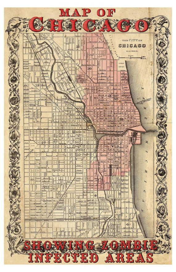 Digital Print Chicago Art Zombies Chicago Vintage Map Etsy