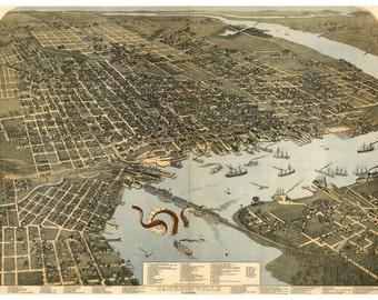 Jacksonville, Digital Print, Jacksonville FL, Octopus Tentacles, Florida Art, Cthulhu, Giant Squid, Geekery, Alternate Histories