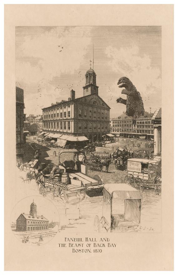 Boston Kaiju Monster Art Boston Art Faneuil Hall Etsy