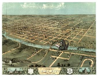 Digital Print, Iowa City, monster art, kaiju, Iowa Art, geekery, kaiju print, alternate histories, Iowa state, Iowa, vintage map