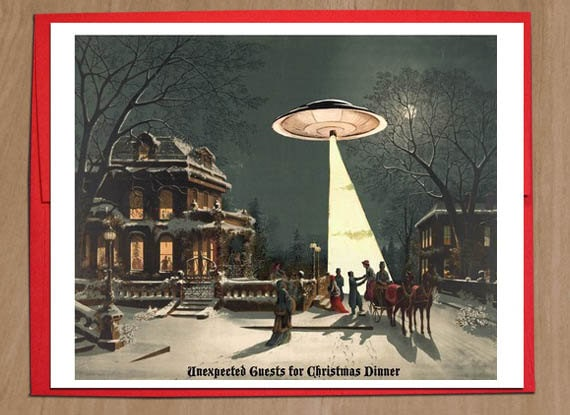UFO Christmas Cards Sci Fi Vintage Christmas Scene Funny | Etsy