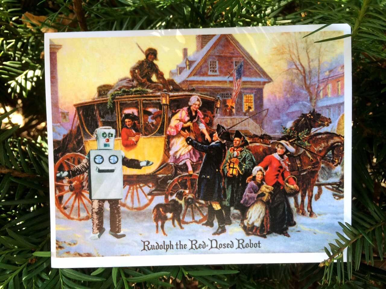 Robot Art Christmas Cards Funny Christmas Card Nerdy | Etsy