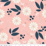 Blush Sparkle Main Pink, Rose Gold Sparkle Cotton, Navy Blush Fabric, Floral Quilting Cotton, Modern print, Riley Blake Designs