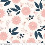 Blush Sparkle Main Cream, Rose Gold Sparkle Cotton, Navy Blush Fabric, Quilting Cotton, Floral Modern print, Riley Blake Designs