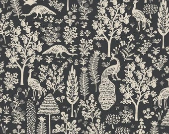 PREORDER ship end DEC, RP708-BK1 Menagerie Silhouette - Black Fabric, Camont Collection, Cotton and Steel, Quilting Weight Cotton