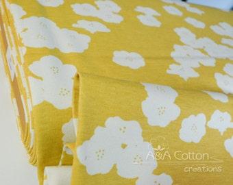 ORGANIC KNIT Interlock Fabric Certified Cotton, Birch fabric, Poppies Sun Knit, Elk Glove knits collection
