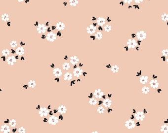 last piece-Organic Fabric, Pocket Full of Posies Pink Cotton, Quilting Weight Fabric,Apparel Fabric, Choose size and quantity for longer cut