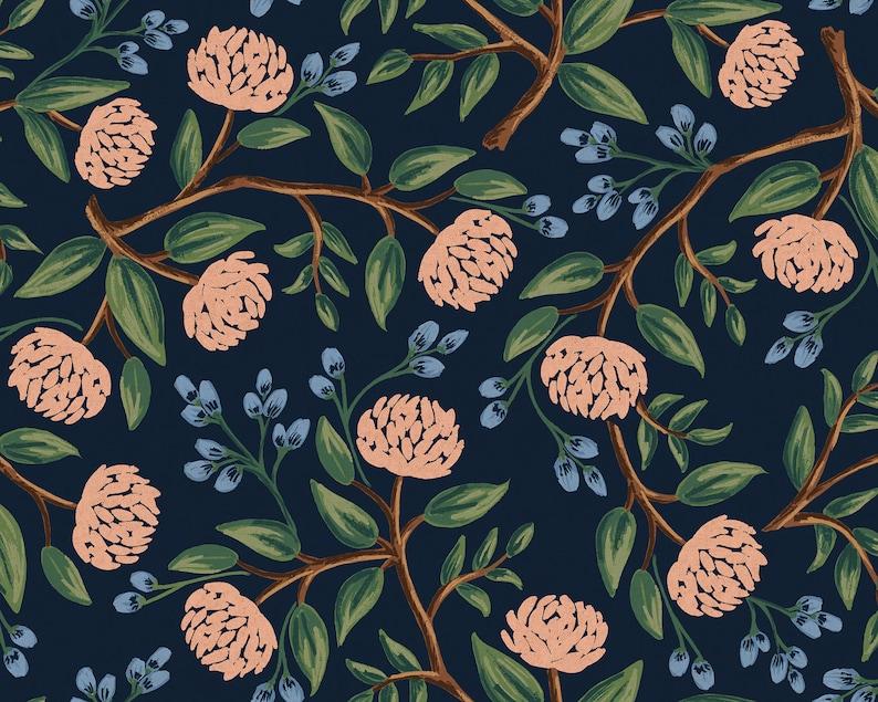 Peonies Blue Canvas Fabric Rifle Paper Co. Cotton Linen image 0