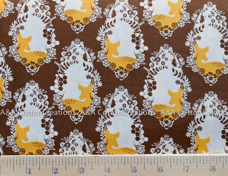 Cherished Deer Sepia print Cotton Art Gallery Designer Cotton Quilting Weight textile Cotton Fabric Sweet as Honey Collection