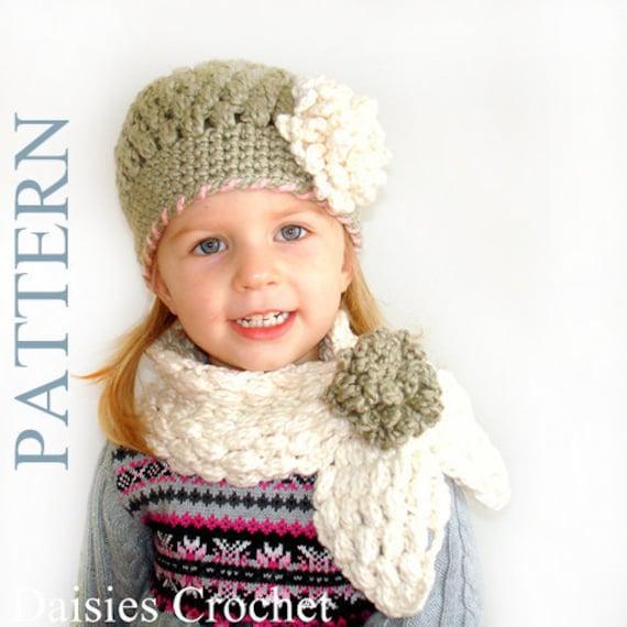 2 Patterns Pdf Crochet Hat Scarf Newborn Infant Toddler Girl Etsy