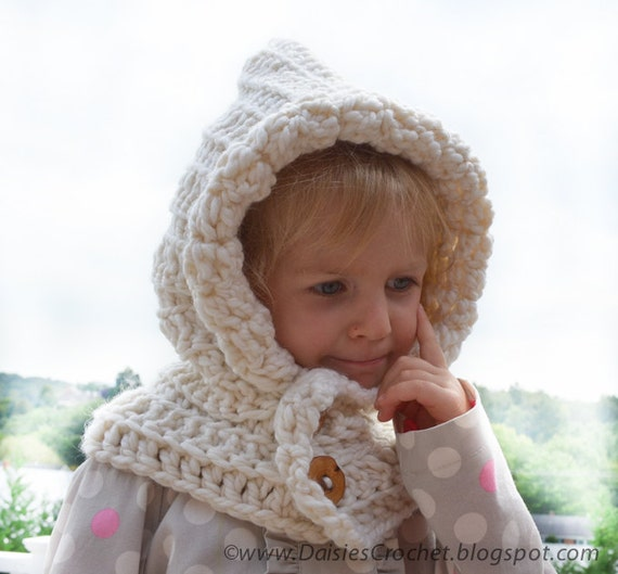 Crochet Pattern Hooded Wraper Toddler Kids Adult Neckwarmer Etsy