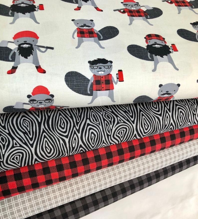 Robert Kaufman Fabrics Hipster fabric Burly Beavers Quilting Cotton Bundle of 5 Animal Fabric Red Black Grey Plaid Boy Fabric