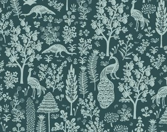 PREORDER ship end DEC, RP708-EM6 Menagerie Silhouette - Emerald Fabric, Camont Collection, Cotton and Steel, Quilting Weight Cotton