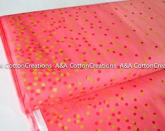 Ombre Confetti fabric,Hot Pink 10807 14M Gold Metallic Fabric, Quilting cotton, Ombre Confetti cotton by Vanessa Christenson