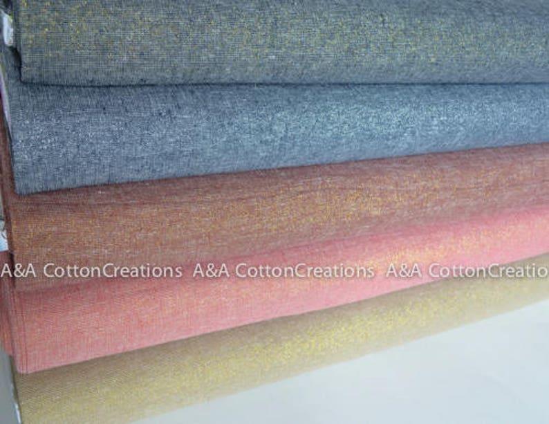 Sparkle fabric Metallic Fabric Linen fabric Last Piece-Metallic CELESTIAL 105-233 Essex Linen,Black Yarn Dyed Linen Robert Kaufman