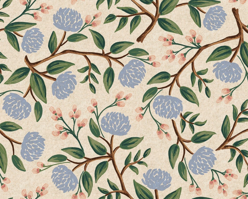 Peonies Cream Canvas Fabric Rifle Paper Co. Cotton Linen image 0