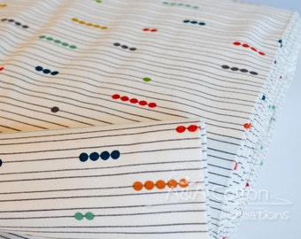 Last Piece-KNIT Interlock ORGANIC Fabric Certified Cotton,Birch fabric,Abacus print Knit textile, Just for Fun collection,