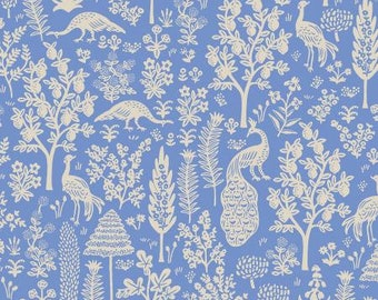 PREORDER ship end DEC, RP708-BL5 Menagerie Silhouette - Blue Fabric, Camont Collection, Cotton and Steel, Quilting Weight Cotton