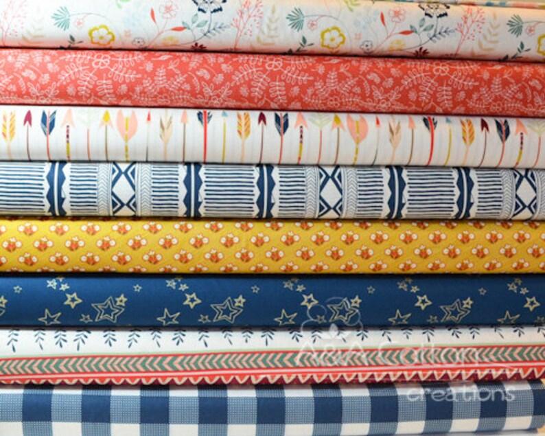 Quilt Cotton Fabric Scandinavian Vintage Colorful Leaf Fat Quarter Half Yard