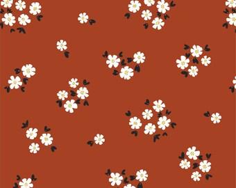 Last Fat Quarter-Organic Fabric, Pocket Full of Posies Brick Cotton, Quilting Weight Fabric, Apparel Fabric