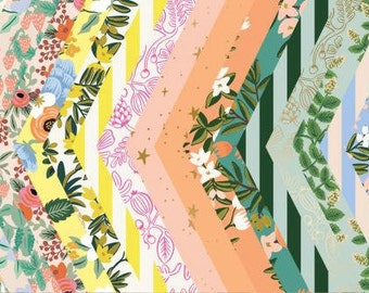 Rifle Paper Co, Primavera Collection of 31 prints, Metallic Fabric, 100% quilting cotton, quilting weight fabric, tropical