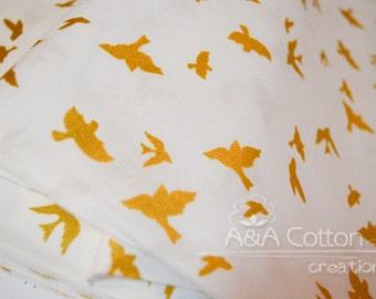 White Flight, Brambleberry Ridge Collection, Quilting Weight Cotton Fabric, Metallic Gold Print