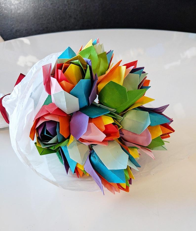 Origami Bouquet Rainbow Rose Bouquet Origami Roses Rainbow Paper Flowers Origami Flowers A Dozen Rainbow Roses Valentines Gift