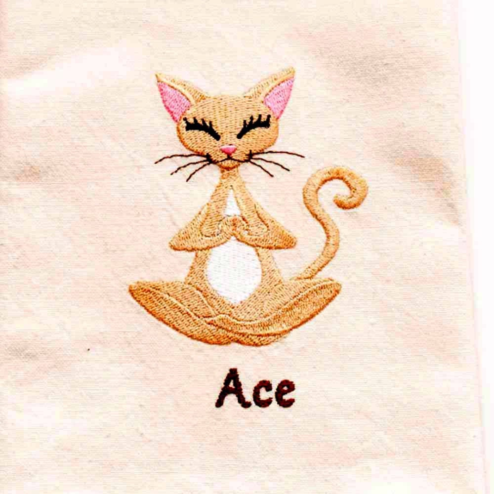 Yoga Cat Tea Towel Cat Lover Gift Embroidered Kitchen