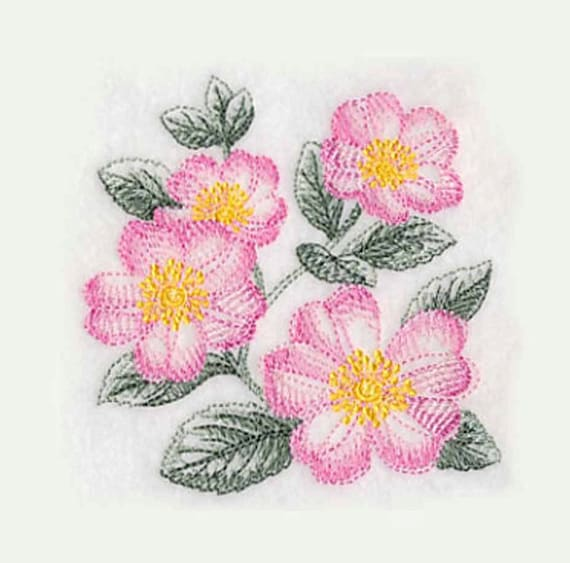 Rose Embroidered Towels: Wild Roses Tea Towel Embroidered Tea Towels Embroidered