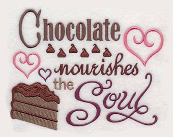 Chocolate Nourishes the Soul Tea Towel | Embroidered Towel | Embroidered Kitchen Towel | Personalized Kitchen Towel | Chocolate Gift