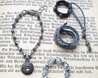Gray Whisper - 1/4 BJD jewelry set. Silver beaded necklace, ancient and magic look