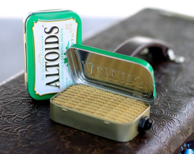 Portable Mint Tin Amp and Speaker for Electric Guitar- Altoids Green/Tweed handmade gifts for guitar players FREE SHIPPING