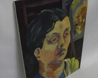 Handprinted Weary Female Portrait painting on stretched canvas
