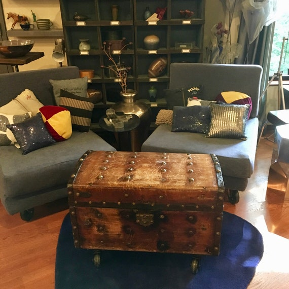 Beautiful Battered Antique Wooden Steamer Trunk Coffee Table On Wheels Vintage