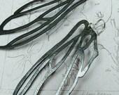 Dragonfly wing earrings, silver oxidised