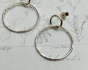 Two circles earrings Sterling Silver