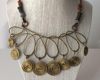 Vintage Brass 'Mobile' Sculpture Necklace