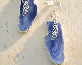 Ocean Druzy Filigree Drop Earrings