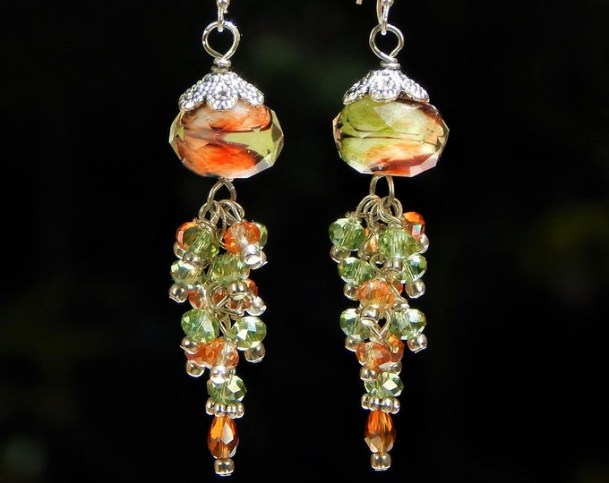 Long and Dangly Sterling Silver Cluster Drop Earrings with Sparkling Green Brown and Orange Fire Polished Crystals and Faceted Glass Beads