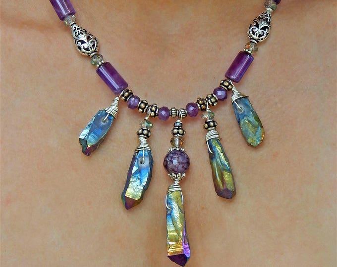 Rough Raw Titanium Rainbow Quartz Crystal and Amethyst Natural Gemstone Statement Necklace